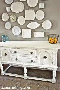 LOVE plates and the buffet... even the basket of lemons, the blue ball jars, and the chalk paint recipe
