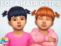 Lola Hair Clips   Ivo-Sims   Sims 4 Adorable Toddler Hair   Pigtails   Maxis Match Custom Content   MM CC   Inspired by Boo from Monsters Inc.