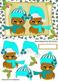 CUTE OWLS IN TURQ SANTA HATS ON A SCROLL on Craftsuprint designed by Nick Bowley - CUTE OWLS IN TURQ SANTA HATS ON A SCROLL, Lots of other colours to see, makes a cute christmas card - Now available for download!