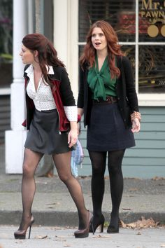 Emilie de Ravin and JoAnna Garcia shoot scenes in Steveston Village, Richmond BC.