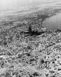 The centre of Cologne after the first 1,000 bomber raid, the cathedral intact despite the near complete devastation of the city