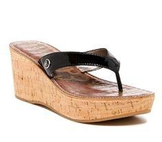 e11df7c56ea85e SAM EDELMAN Romy Cork Wedge Thong Sandal Black Leather Wms sz 8.5 Preowned   fashion  clothing  shoes  accessories  womensshoes  sandals (ebay link)
