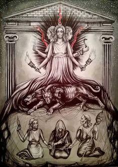 Hecate Goddess, Goddess Art, Thor, Loki, Witchy Wallpaper, Symbole Viking, Occult Art, Wiccan Art, Triple Goddess
