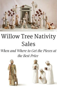 Willow Tree Nativity Sale- Many people would like to have these Willow Tree Nativity pieces in their home but they can get expensive. Check out where and when to find the pieces at the best price. Willow Tree Figures, Willow Tree Nativity Set, Nativity Sets, Tree Decorations, Christmas Decorations, Diy Christmas, Christmas Nativity, White Christmas, Christmas Trees