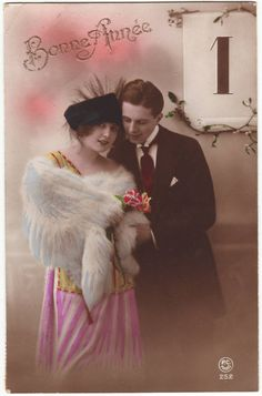 """Happy New Year"" - Vintage hand tinted French postcard - Antique - 1920's"