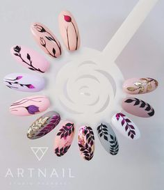 Botanical nail art arte uñas в 2019 г. nails, acrylic nails и gel nails. Diy Valentine's Nails, Nail Manicure, Cute Nails, Pretty Nails, My Nails, Shellac Nails, Acrylic Nails, Spring Nails, Summer Nails