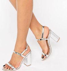 8d1d8b5ab56aa8 silver chunky heels - Google Search Silver Chunky Heels