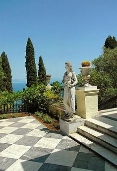 "Greek Garden, Corfu, Greece. The Achilleon Palace ,Corfu. -Famous ""escape-palace"" of Sissy , paradise on Eath:)-V"