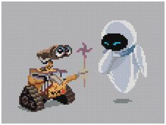 PDF Cross Stitch pattern --- Wall-E & Eve