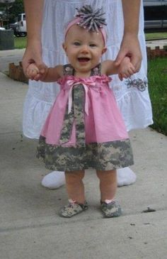 Cute digital camo baby dress and hairbow!
