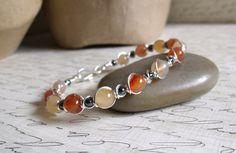 Agate & Carnelian Bracelet / Handmade Wire Wrapped Jewelry / Silver Wire Bracelet /  Stone Jewelry - Silver / Yellow / Orange - 7 1/2 in by BeadedAmbrosia on Etsy https://www.etsy.com/listing/220153653/agate-carnelian-bracelet-handmade-wire