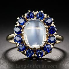 Vintage Moonstone and Sapphire Ring