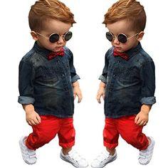 Efaster 1Set Kids Toddler Boys Handsome Denim T-shirt+Tro...