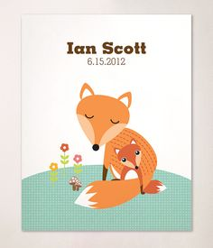 Foxes, foxes and more foxes! Adorable Custom Name Mom and Baby  Fox Print for the Nursery.