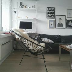 Innit Designs Acapulco Lounge Chair, Black or White Frame