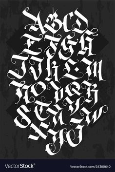 Full alphabet in the gothic style vector image on VectorStock Gothic Lettering, Graffiti Lettering Fonts, Creative Lettering, Gothic Fonts, Chicano Tattoos Lettering, Tattoo Lettering Alphabet, Calligraphy Alphabet, Gotisches Alphabet, Gothic Alphabet