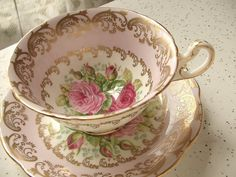EB Foley bone china tea set, pink and gold tea cup, pink roses cup.