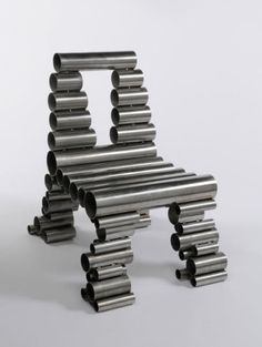 Unique home deco sitting Osian Batyka-Williams - Tube Chair Unique/Wild Chair Recycled Furniture, Metal Furniture, New Furniture, Furniture Design, Table Furniture, Stainless Steel Scrap, Stainless Steel Furniture, Contemporary Chairs, Modern Chairs