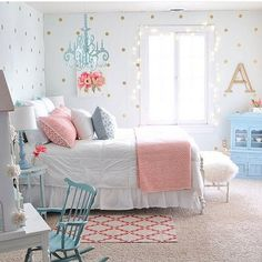 """How beautiful is this bedroom? I'm not sure what I like the most... Is it the polka dots, the chandelier, the pretty colors? I love it all!!! To find this…"""