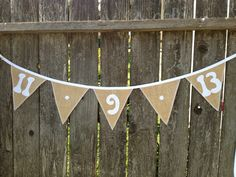 """Burlap SAVE THE DATE bunting with 7"""" flags.....perfect in so many ways! Found at www.etsy.com/shop/GramsCozyCorner"""