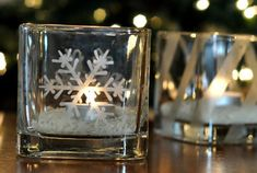 Etched votive candle holders