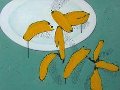 'Flatware with Loose Bananas', acrylic by Paul Screach Nz Art, Bananas, Flatware, Artists, Painting, Cutlery, Artist, Painting Art, Paintings
