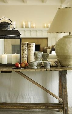 rustic console table and fabulous lantern