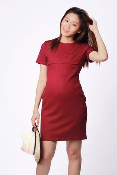 Kayla Red Knit Maternity & Nursing Dress  Shop now on www.lovebabybump.com