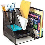 Staples® Black Wire Mesh Giant Desk Organizer