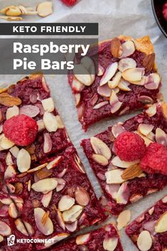 These keto friendly raspberry pie bars transform fresh raspberries and a simple almond crust into a decadent and easy to make dessert! Low Carb Sweets, Low Carb Desserts, Low Carb Recipes, Raspberry Recipes Low Carb, Slow Cooker Keto Recipes, Light Desserts, Low Carb Bars, Keto Bars, Easy Dinner Recipes
