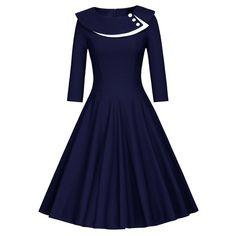 Button Layered Swing Dress - PURPLISH BLUE 2XL