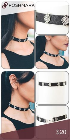 Black Silver Charms Faux Leather Adjustable Choker Rock your look with this hot black faux leather choker embellished with silver metal diamond charms. Charms slide & can be adjusted - Adjustable lobster claw fastener.  Jewelry Necklaces