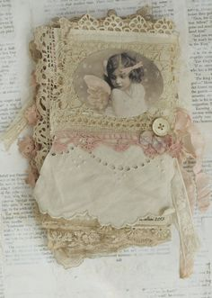 Mixed Media Fabric Collage Book of Angels and Old Lace