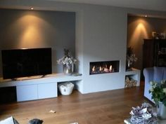 Risultati immagini per open haard met houten plateau Home Fireplace, Living Room With Fireplace, Fireplace Design, New Living Room, Living Room Modern, Interior Design Living Room, Home And Living, Living Room Designs, Living Room Decor