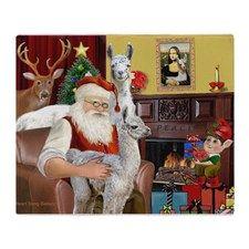 Santa with his Mama Llama Baby Throw Blanket for