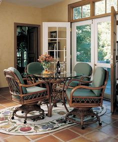 Ocean City Dining Set with 4 Caster Swivel and Tilt Rattan Chairs : Antigua Caster Dining Set from South Sea Rattan.