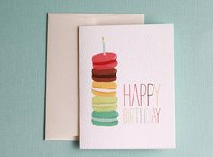 Set of 4 French Macaron Birthday Card by joliejoliedesign on Etsy, $10.00