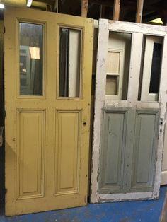 nr. 35c grote antieke deuren met twee ruiten | Oude paneeldeuren, antieke binnendeuren | Oudedeur - paneeldeuren :