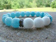 Gemstone Jewelry, Beaded Stretch Bracelet, Blue, Stacked Bracelet, White, Bead Bracelet, Summer Jewelry, Summer Trends, Gemstone Beaded by BeJeweledByCandi on Etsy