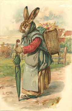 Old Woman Rabbit - Old Easter Post Card