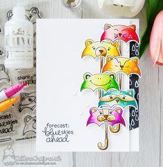 Blue Skies Ahead #handmade card by Tatiana Trafimovich #tatianacraftandart - Umbrella Pals stamp set by Newton's Nook Designs #newtonsnook
