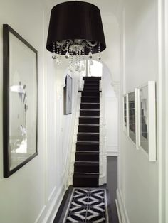Black shade chandelier with hanging crystals