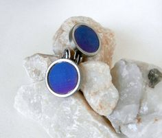 Blue / Purple Cufflinks   Vintage  Silvertone by ReTainReUse