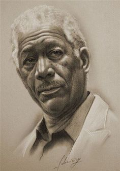 Pencil drawings of celebrities Morgan Freeman