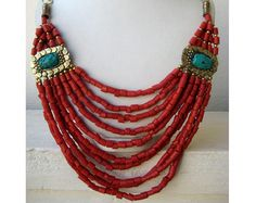 Turquoise and Coral Bohemian Necklace / Statement Necklace / Bib Necklace - Beaded Jewelry
