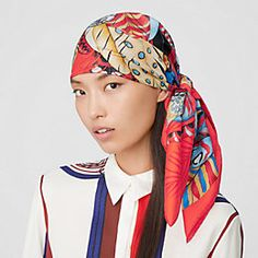 """Essential by Scarf """"Plume en fêtes"""" in silk twill with hand-rolled edges silk)  . Mode Pirate, Fashion Runway Show, Feather Vector, Pirate Fashion, Tie And Pocket Square, Outfit Of The Day, Hermes, Women Wear, Silk"""