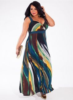 Trista Plus Size Maxi Dress in Jade Wave at Curvalicious Clothes www.curvaliciousclothes.com