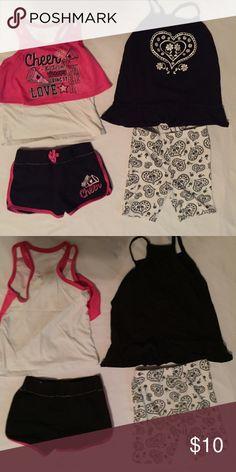 🆕Girls Shortset Bundle Faded Glory CHEER(sz 5)  Faded Glory paisley (some piling on shorts sz 5T) Faded Glory Matching Sets