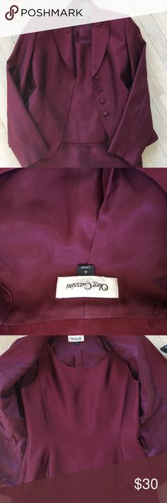 Never worn dressy 3piece Oleg Cassini suit Great for that holiday party right from work - 3 piece fully lined jacket, shell and skirt with back kick pleat - 60%wool 40%silk never worn excellent condition and priced to sell Oleg Cassini Other
