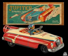 Space Vehicles - JUPITER SPARKLING SPACE CAR - ASAHITOY - JAPAN - ALPHADROME ROBOT AND SPACE TOY DATABASE